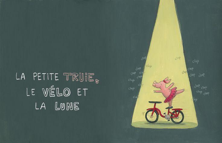 «La petite truie, le vélo et la lune» de Pierrette Dubé, suggéré pour le 1er cycle et le 2e cycle.
