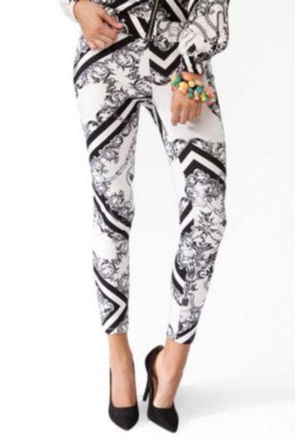 Hello Kitty Forever 21 Baroque Scarf Print Filigree Leggings Pants Black White - click to purchase on eBay!