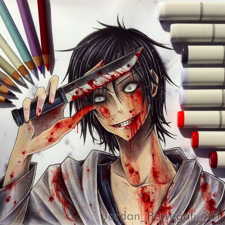 I finished my drawing of Jeff the Killer! Now I'm just working on narrating and editing the creepypasta video for my YouTube channel. Lot's of work is going into this one, the video is nearly half an hour long! :s  I hope you guys will enjoy it once it's done :) #copicart #animeart #animedrawing #animeguy #jeffthekiller #creepypasta