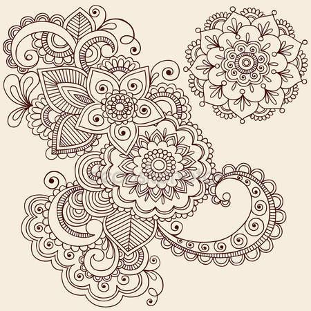 Paisley tatuaje dibujado a mano henna mehndi flores garabatos vector ilustración elementos de diseño