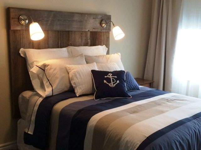 Reclaimed Barnboard Headboard With Built In Lighting