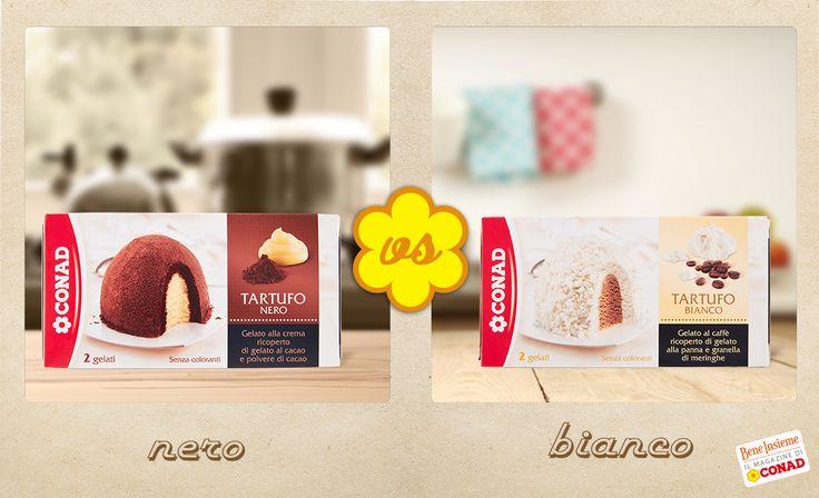 Gelato alla crema ricoperto di gelato al cacao e cacao in polvere, oppure #gelato al caffè ricoperto di gelato alla panna e granella di meringhe? La sfida di oggi è tra i due classici #tartufo! Quale preferisci?