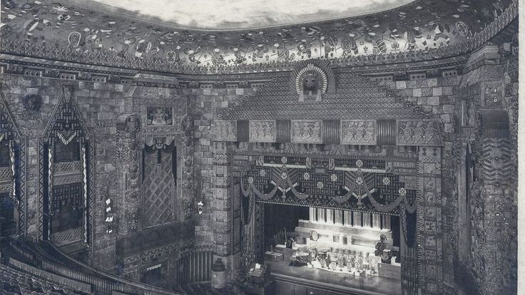 Inside the Mayan-influenced Fisher Theatre of 1928, with original pictures from the architects Graven & Mayger.