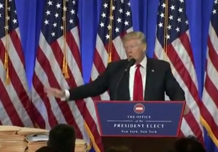 1/12/17  10:47a Trump Busted Using Empty Fake Folders As Conflict Of Interest Docs At Press Conference  politicususa.com