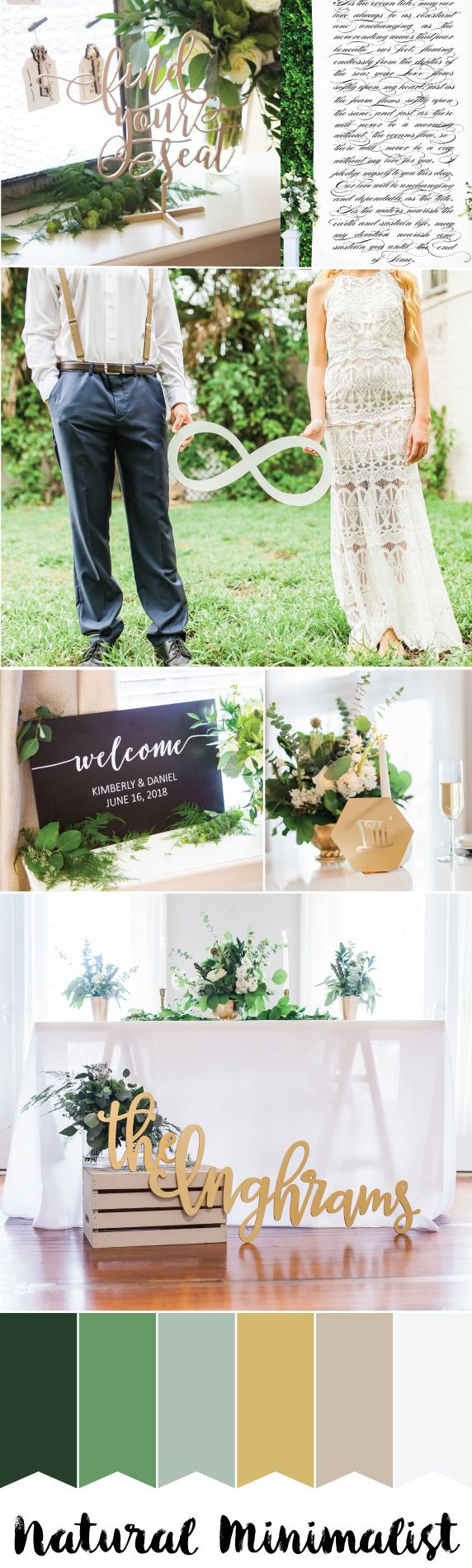 Wedding color schemes for june - Nature Inspired Minimalism With Boho Flair Greens Golds White And Taupe Wedding Color Scheme For 2017 Www Zcreatedesign Com