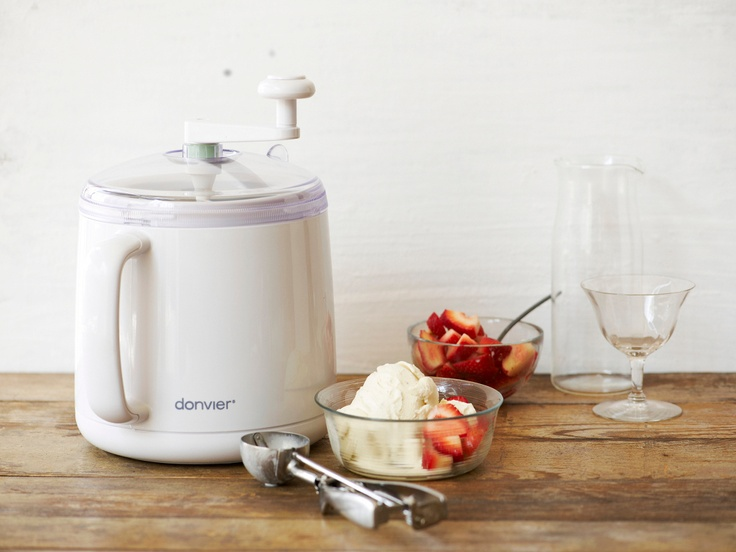 Donvier Premier Ice Cream Maker - make all-natural gourmet ice cream, frozen yogurt, sorbets and non-dairy soy desserts in 20 minutes or less with just a few simple ingredients. Uses no electricity, salt, or ice.