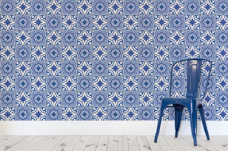 Blue and White Portuguese Tiled Wallpaper