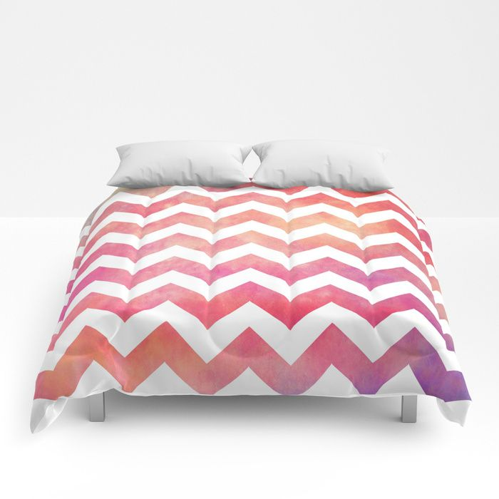 Watercolor Chevron. Comforters