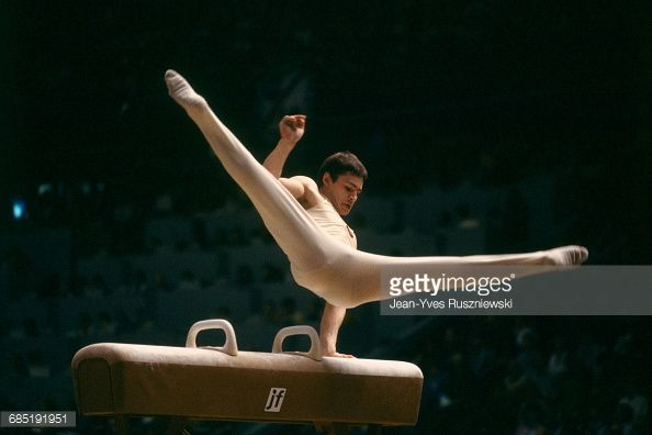 Dmitri Bilozerchev from USSR during his routine on pommel horse at the 1987 World Championships.