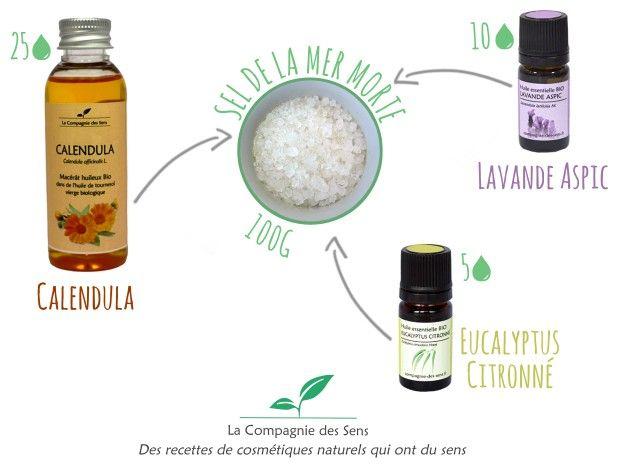Préparez un bain pour calmer les rougeurs de votre peau avec 4 ingrédients !   - 5 gouttes d'huile essentielle d'eucalyptus Citronné   - 10 gouttes de Lavande Aspic   - 25 gouttes de macérât huileux de Calendula   - 100 g de sel de la Mer Morte