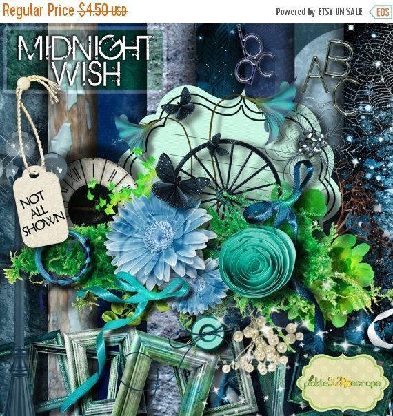 ON SALE Midnight Wish   Digital Scrapbook Kit  by PickleStarScraps