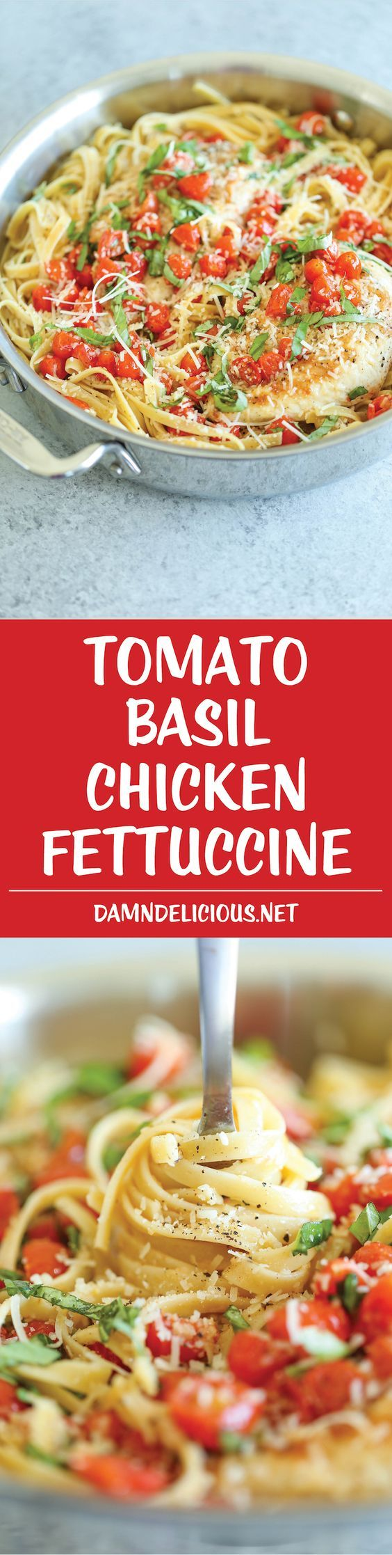 Tomato Basil Chicken Fettuccine - A quick weeknight Italian pasta dish using fresh, simple ingredients that you already have on hand! So…