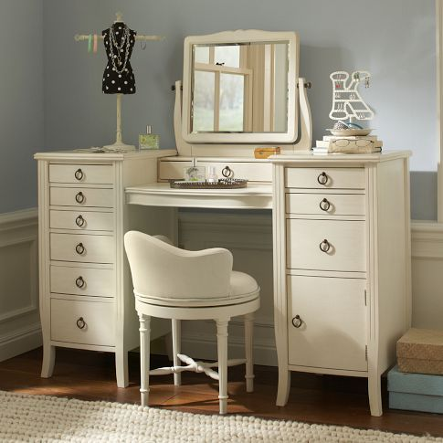 without the mirror and chair, I'd use this vanity and paint it black to use as my station.