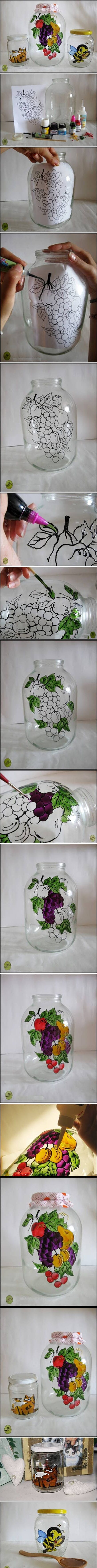 How to decorate your jars with glass paint. Top Tip - Draw Your Design onto a piece of paper and insert it inside the glass object / vase / jar or behind the piece of glass.  This gives you your template!  All you need now is a steady hand to trace around your design!