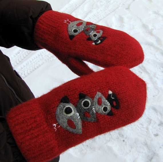 Felted mittens hand knit needle felt birds by HandmadebyMia, $50.00