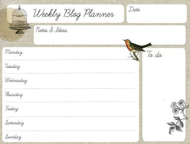 Imprimible: organizador semanal para el blog