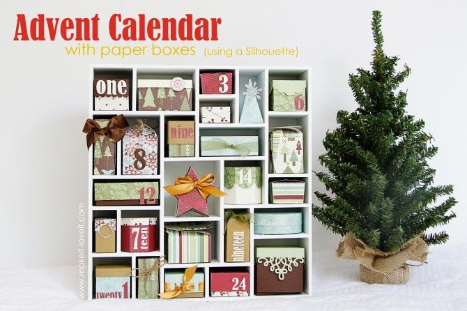 advent calendar with mini tree.  the little boxes are filled with decorations for the tree.