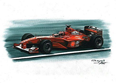 2000. Ferrari F1-2000,  Michael Schumacher,  Rubens Barrichello,  Ferrari F1 collection ART by Artem Oleynik. This collection demonstrating Ferrari F1 racing cars since 1950 to 2016 and includes 96 pictures in oil on canvas. The size of each original picture is 25 x 35 cm.