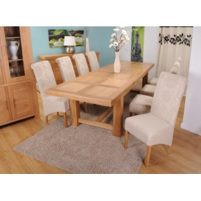 Grand Marseilles Large Oak Dining Table with 8 Cream Mia Floral Chairs - Set  www.easyfurn.co.uk