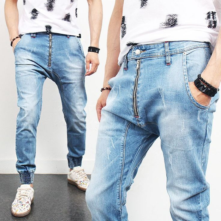 Distressed Faded Blue Semi Baggy Zipper Jogger Jeans 004 via SNEAKERJEANS STREETWEAR SHOP