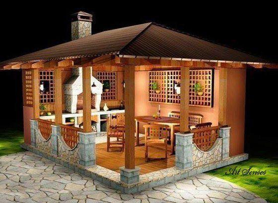 Idee für einen Pavillon mit Grill: