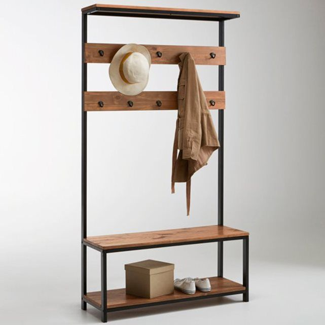 Hiba Hall Stand. A practical addition to any hallway with a contemporary industrial look. 10-hook coat rack. Size: Width: 100 cm Height: 184.3 cm Depth: 35 cm Solid pine with nitrocellulose varnish.  Metal coat hooks. Requires self-assembly.