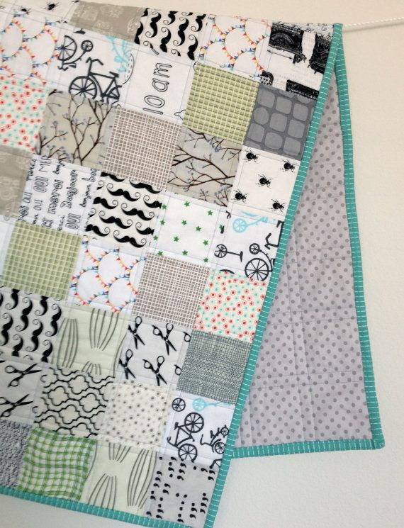 modern baby quilt - cool color low volume