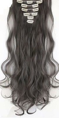Synthetische clip in hair extension set / donker grijs / 60 cm