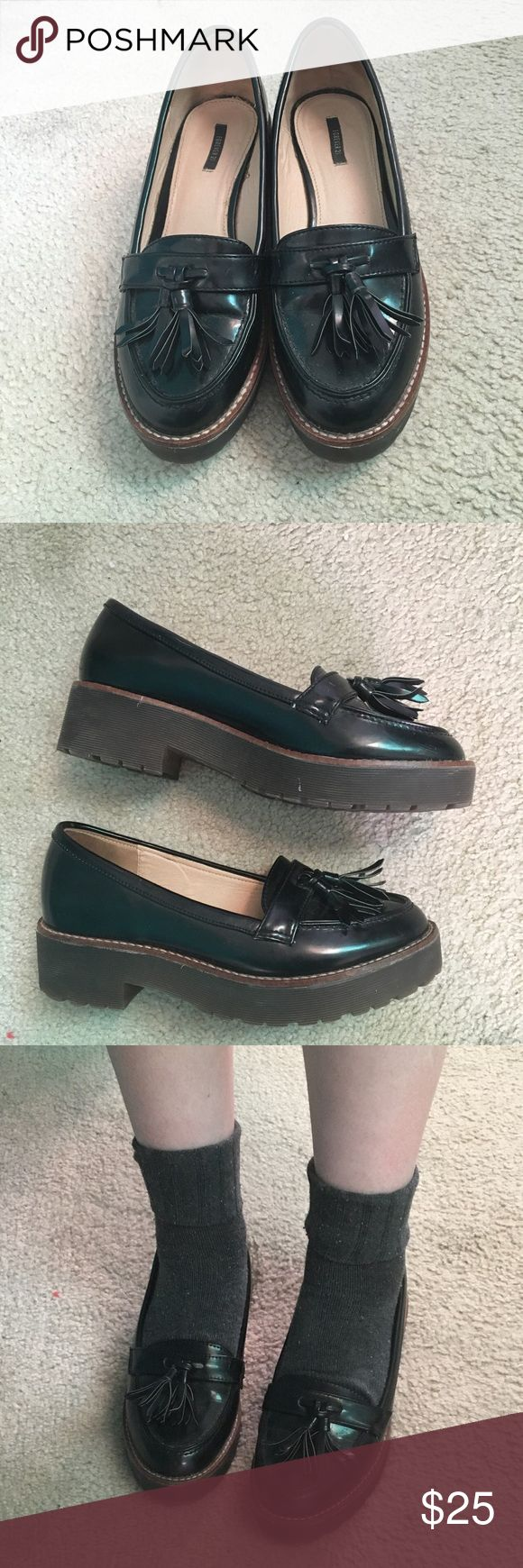 Chunky tassel loafers Super cute loafers that were originally purchased from forever 21. In good used condition. They really give those preppy school girl vibes! Tagged as Dr. Martens for exposure. Tags Forever 21, Unif, Dr. Martens, Dollskill, Skechers Dr. Martens Shoes Flats & Loafers