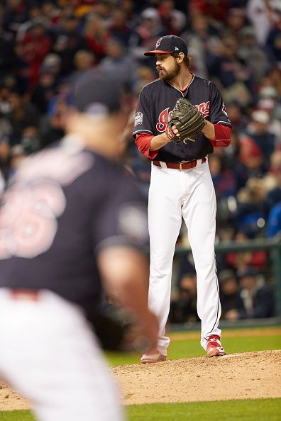 World Series Cleveland Indians Andrew Miller during game vs Chicago Cubs at Progressive Field Game 1 Cleveland OH CREDIT Al Tielemans