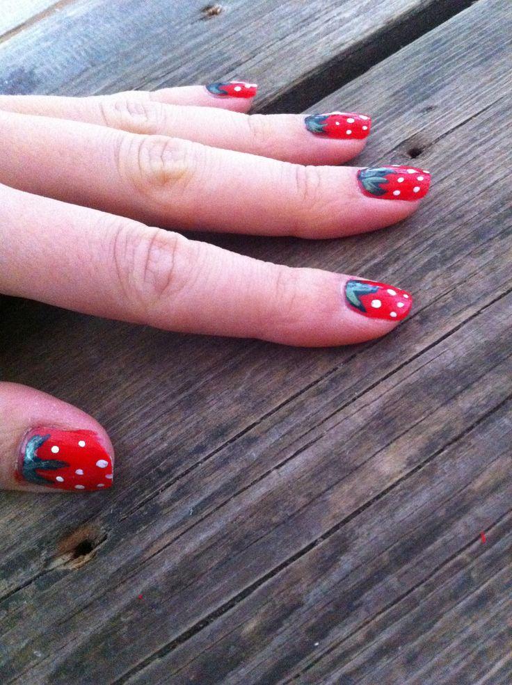 Sweet Strawberry nail design