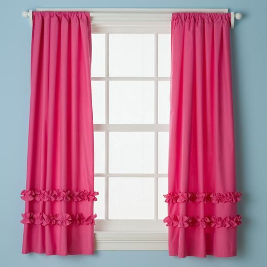 The Land of Nod | Kids' Curtains: Kids Hot Pink Ruffle Curtain Panels in Curtains & Hardwares