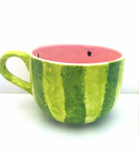 Watermelon Latte Cappuccino Mug Soup Bowl by ShadyLaneCeramics