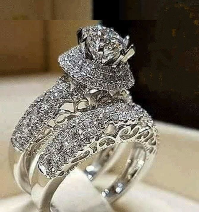 3 00 Ct Round Diamond Engagement Bridal Ring Wedding Set 14k White Gold Over Jewelry Watches Sets Ebay