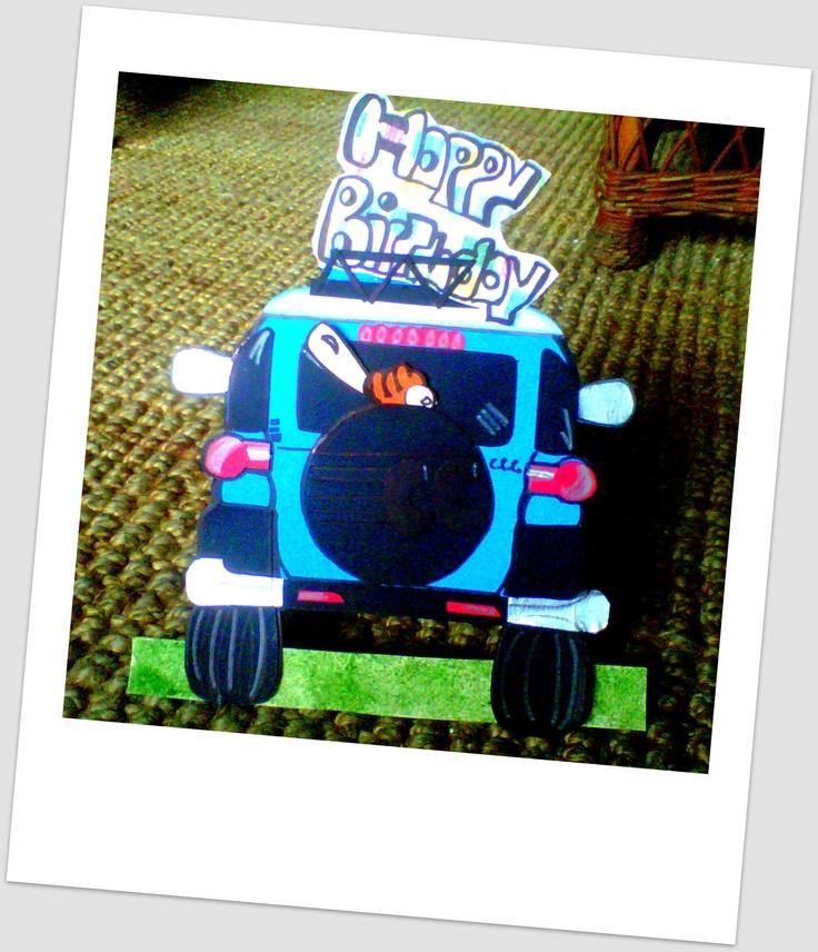 tarjeta de cumple en forma de carro