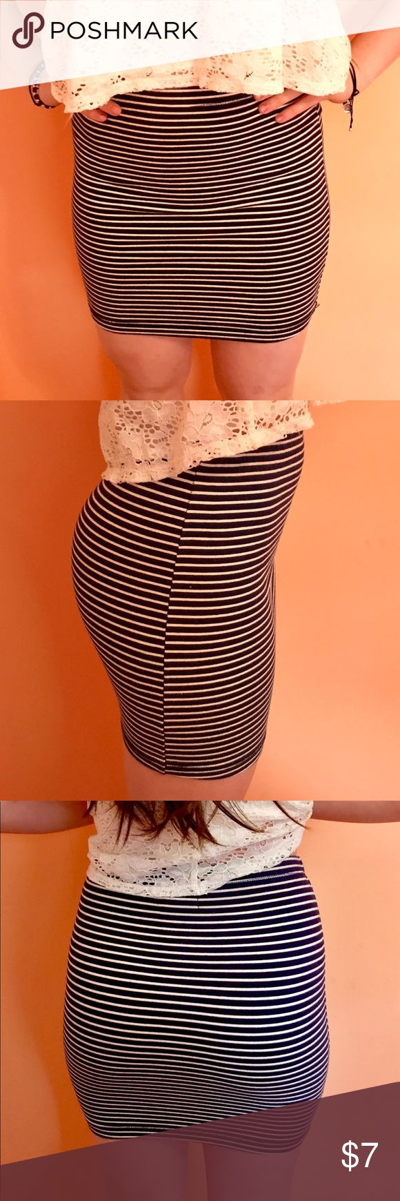 Navy blue and white stripe bodycon skirt Navy blue and white body con skirt. Very comfortable, not too short but not long either. Size 6 USA but could fit smaller as well. Obey Skirts Mini