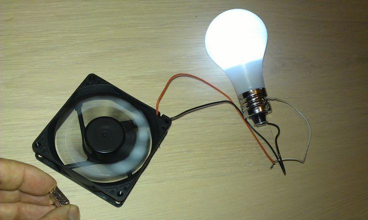 "Free Energy Magnet Motor fan used as Free Energy Generator ""Free Energy"" light bulb"