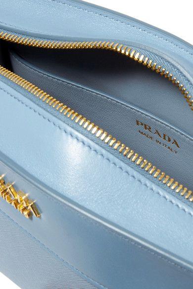 Prada - Esplanade Small Smooth And Textured-leather Shoulder Bag - Sky blue