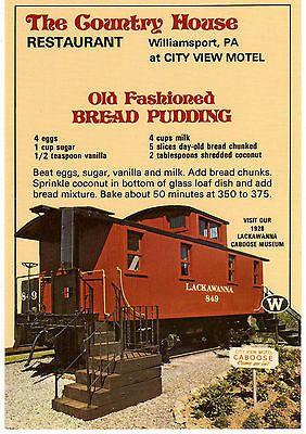Bread-Pudding-Recipe-Postcard-Country-House-Restaurant-Williamsport-PA-Train