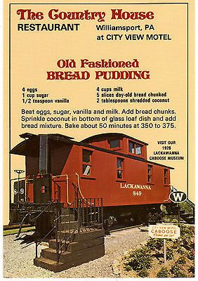 Bread-Pudding-Recipe-Postcard-Country-House-Restaurant-Williamsport-PA-Train