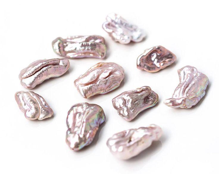 15141_Pink biwa pearls 20-28 mm, Big pearls, Baroque pearls, Pastel pearl beads, Natural freshwater pearls, Nacreous large pearls_10 pcs. by PurrrMurrr on Etsy