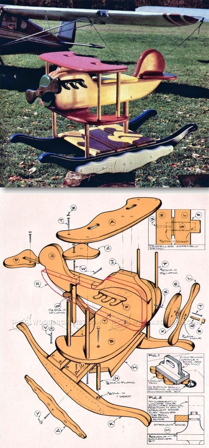 Rocking Airplane Plans - Children's Woodworking Plans and Projects | WoodArchivist.com