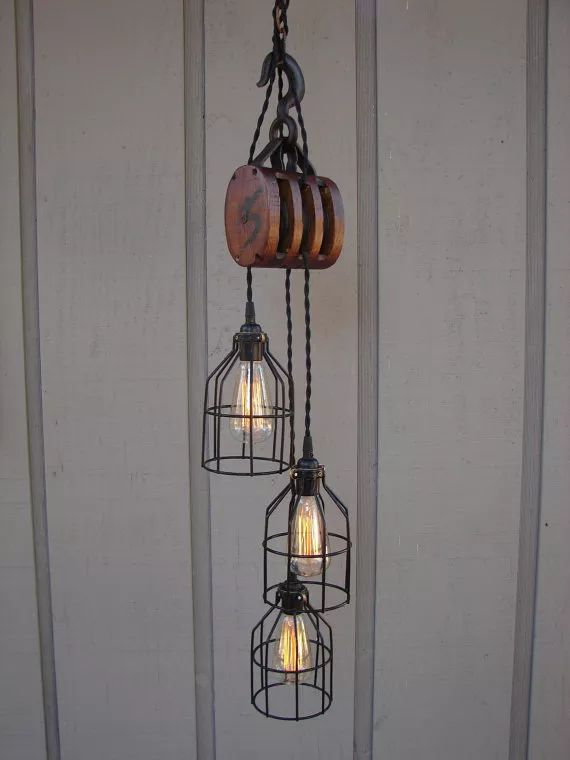 Industrial Pulley Lamp - Pendant Lighting, Vintage lamp - iD Lights | iD Lights