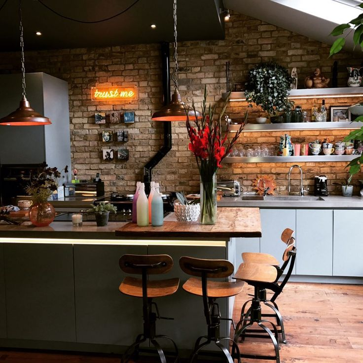 Kitchen with exposed brick