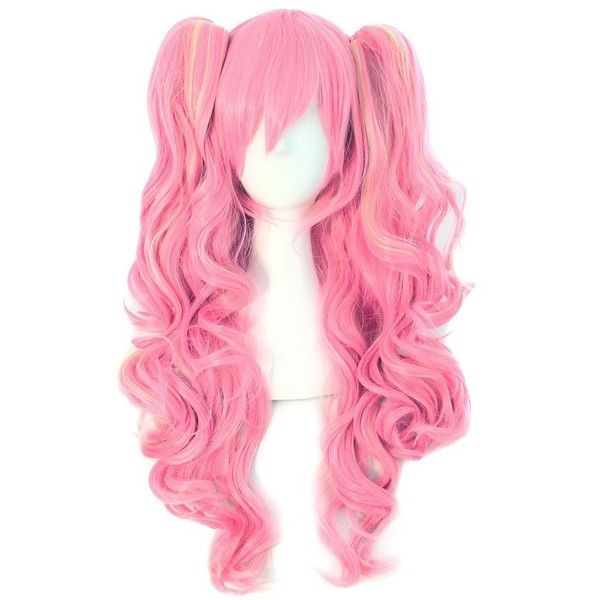 MapofBeauty Multi-color Lolita Long Curly Clip on Ponytails Cosplay... ($33) ❤ liked on Polyvore featuring beauty products, haircare, hair styling tools, hair, wig, pink and curly hair care
