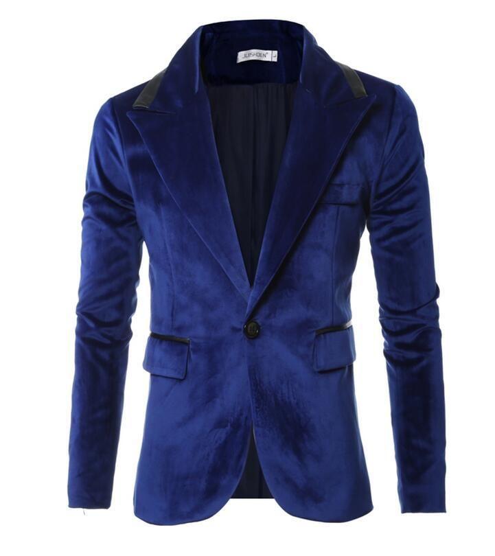 Slim Fit Blazer Men 2017 Stylish Mens Velour Blazer Spring Autumn Casual Blazers For Men Fashion Brand Velvet Suit Jacket Fc2374