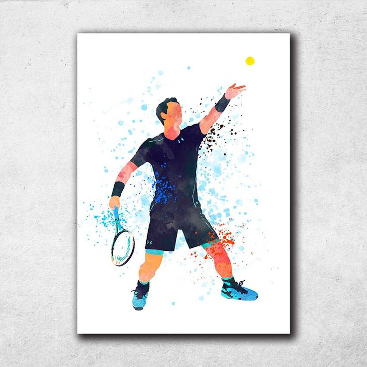 Andy Murray Poster, Tennis Gifts, Tennis Prints, Sports Decor, Watercolor Print, Home Decor Wall Art (N032) by PointDot on Etsy