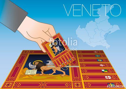 Veneto ballot box with flag and map, Italy