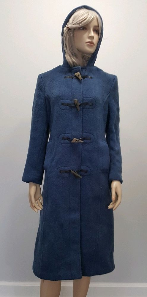 146c6d1a79f95 Original GLOVERALL England Blue Wool Fitted Duffle Coat Toggle Button Hood  Sz 12  Gloverall  DuffleCoat