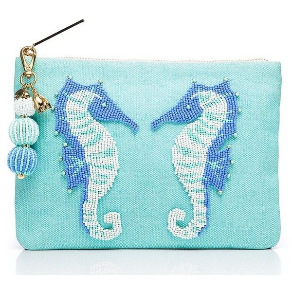 Kate Spade On Purpose Seahorse Beaded Pouch ($198) ❤ liked on Polyvore featuring bags, handbags, clutches, kate spade clutches, pouch purse, beaded purse, blue purse and pouch handbag